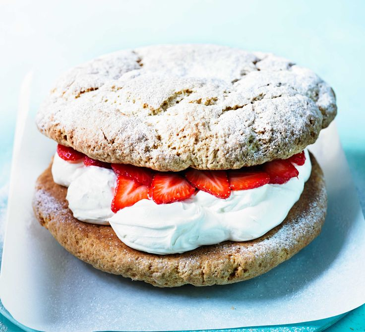 Serve this giant scone in slices for a simply ace afternoon tea treat, filled with fresh strawberries and fluffy whipped cream