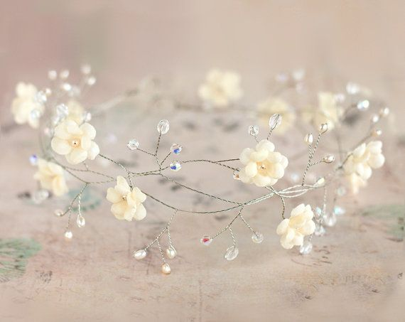 Bridal tiara, wedding tiara, wedding flower crown, vine tiara, headpiece, headband, bridal hair accessories, pearls, Hair Wreaths