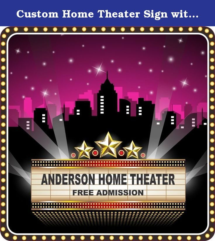 Custom Home Theater Sign with City Silhouette, Stars, and Flashbulb Border - Fun Sign Factory. Conjure up the glitz and glamor of Tinseltown with this fabulous personalized home theater sign! Turn your home theater, den, man cave, or lounge into a silver screen sensation with this awesome novelty customized home movie theater sign. Featuring a pink sky with stars, city silhouette background, flashbulb lights border, strobe lights, and a customizable cinema marquee sign, this eye-catching...