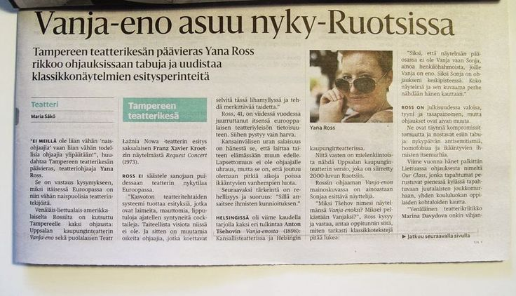 Finnish press wrote about our co-produced performance, which was shown last weekend at the ‪#‎Tampere‬ Theatre Festival! nternational Divine Comedy Theatre Festival co-production shown at Tampere Theatre Festival in Finland! #DanutaStenka #YanaRoss #RequestConcert
