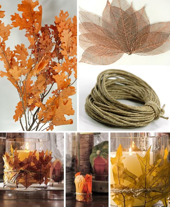 DIY Autumn Candle Holder - Attach fall leaves to the outside of a glass candle holder and secure w/twine.