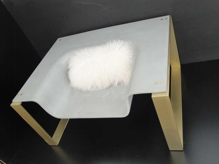 Pair Of Slick Sexy YSL Concrete Brass Lounge Chair