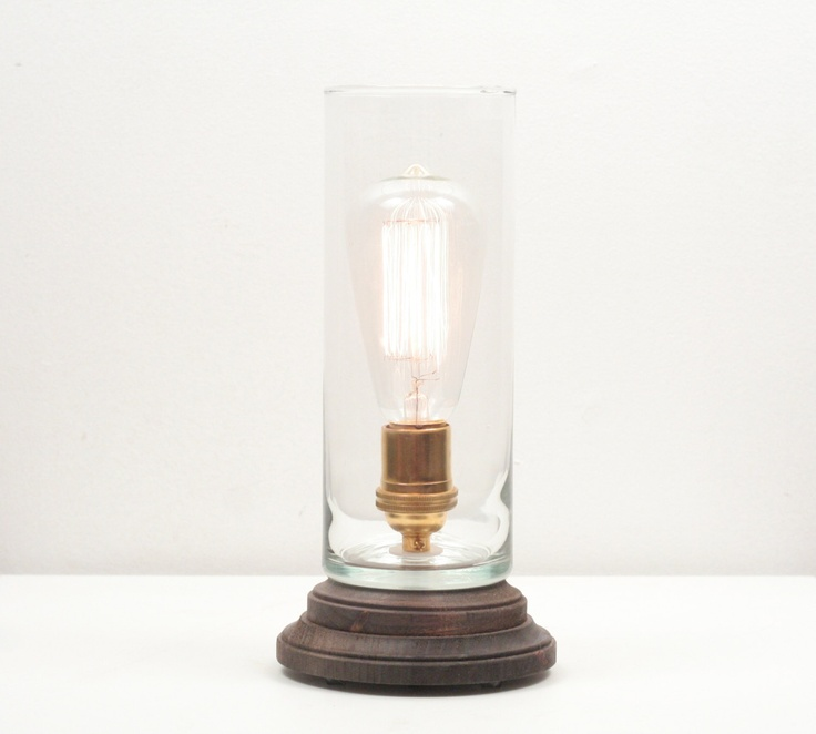 Exceptional Hurricane Pedestal Lamp III  Minimalist Table Lamp, Exposed Edison Bulb  Lighting, Industrial Lamp