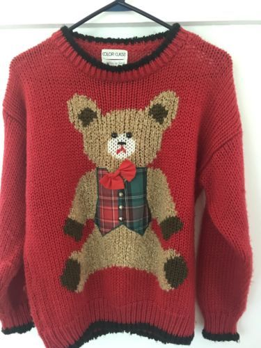 Red-Teddy-Bear-Knit-Christmas-Sweater-Size-Med-Plaid-Vest-Red-Bow-3-4-Sleeves