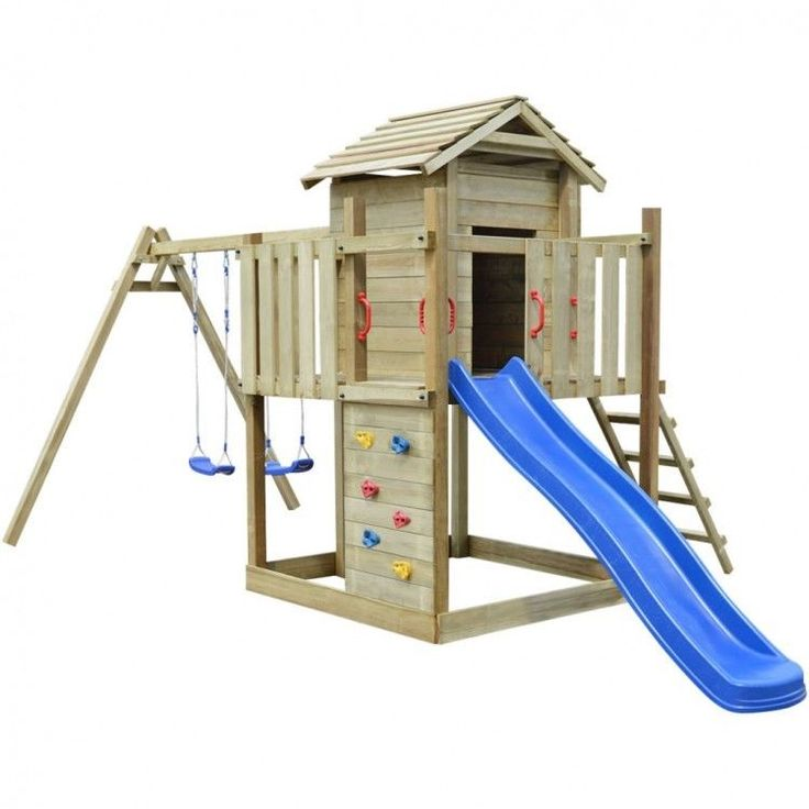 Kids Playhouse Set Ladder Slide Wooden Playground Children Blue Swing Rope House #KidsPlayhouseSet