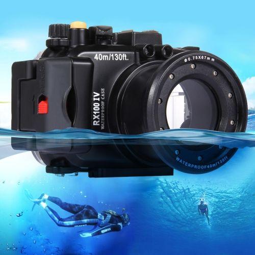 [$129.41] PULUZ 40m Underwater Depth Diving Case Waterproof Camera Housing for Sony RX100 IV(Black)