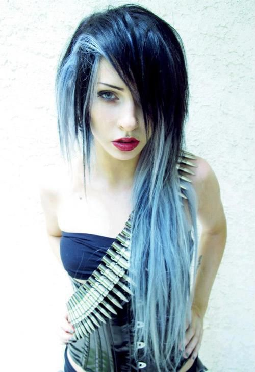 Black and blue/grey hair