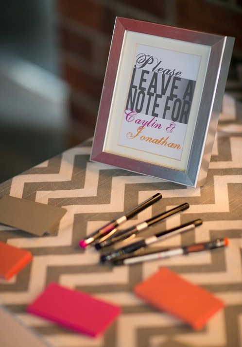 Guest book sign for pink and orange wedding