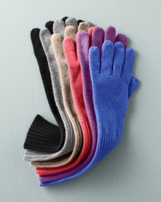 Ribbed-Cuff Cashmere Gloves - Garnet Hill