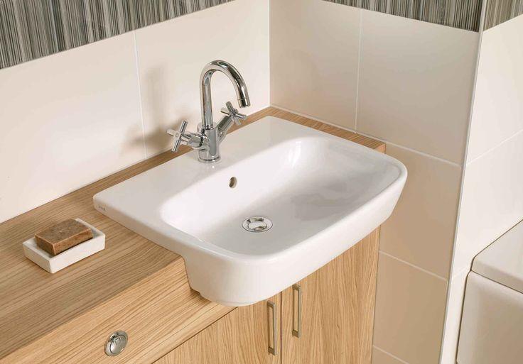 4390 Semi-recessed basin, 55cm - A40876 Uno basin mixer with pop-up waste