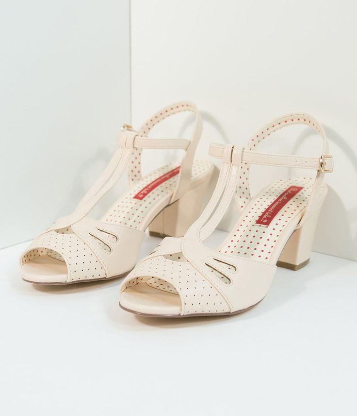 B.A.I.T. 1940s Cream Blush Reanna T-Strap Heels
