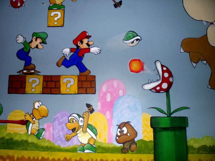 Super Mario Brothers. murals for boys bedroom. Loads of
