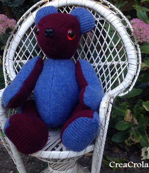 Herinneringsbeer Balou, gemaakt van opa's wollen truien, CreaCrola.nl