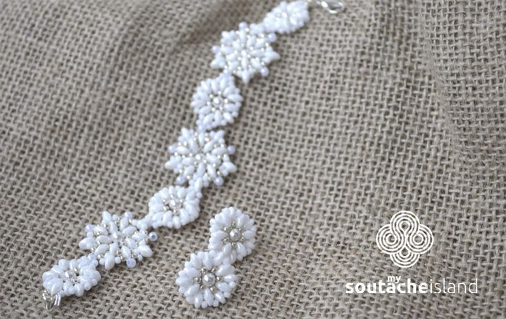 Snowflakes beading jewelry set, white, silver bracelet and earrings
