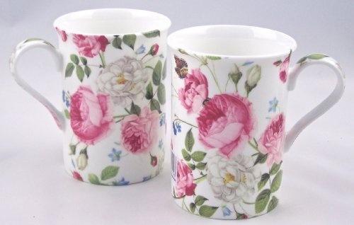Fine English Bone China Mugs - 'Cottage Rose Chintz'