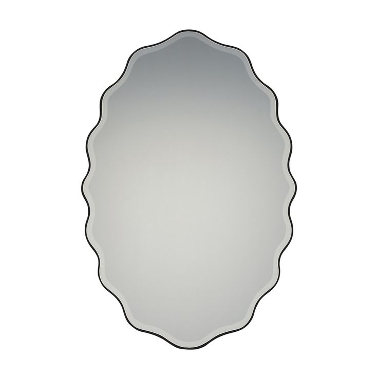 Quoizel Artiste 20 x 30 Black Beveled Oval Framed Transitional Wall Mirror