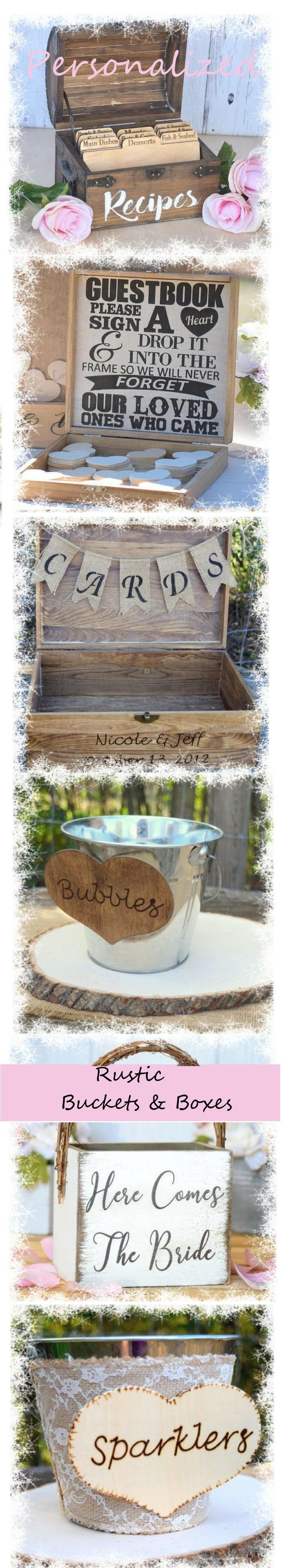 I just LOVE this wooden recipe box!!!Personalized rustic metallic buckets and wooden boxes.Ideal for organizing everything in  parties,wedding receptions or just recipes and spatulas in your kitchen! #organizing #bucket#ad#rustic#wedding#organizing