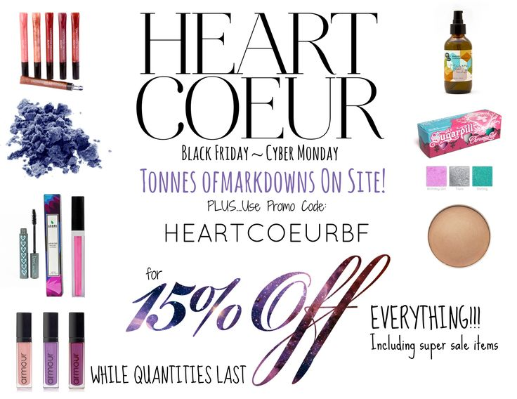 ATTENTION: HEARTCOEUR BLACK FRIDAY IS HERE♥  http://www.heartcoeur.com/collections/sale We've already marked down tonnes of amazing products. Plus, use Promo Code: HEARTCOEURBF for an additional 15% off everything!  While Quantities Last ~ Free Shipping Starts at $49! Sale Ends Mon, Dec 1! #veganmakeup #sugarpill #blinc #beautywithoutcruelty #studio78paris #aunaturale #aromibeauty