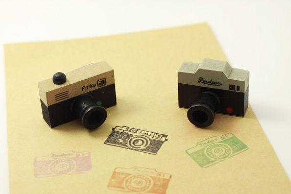 Vintage fotocamera francobollo / / timbro di gomma legno / / Kit timbro / / voi scegliere il disegno