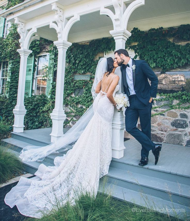 Stunning bride in a beautiful Berta bridal gown. We are in love with thd ow back detail. #weddingdress #mermaidgown #lowbackweddingdress #bertabridal