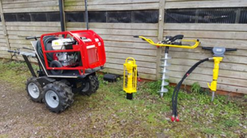 Handheld hydraulic knocker. The portable hydraulic power pack and handheld hydraulic power pack tools offer a tremendous amount of power using a low cost and simple system. For more info contact us at: http://www.fresh-group.com/hydraulic-power-pack-tools.html