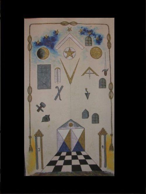 "Tracing board of the Masonic Lodge ""Saint-Charles-de-la-Parfaite-Harmonie,"" the private lodge of Philippe d'Auvergne's adoptive family. www.sebok.be."