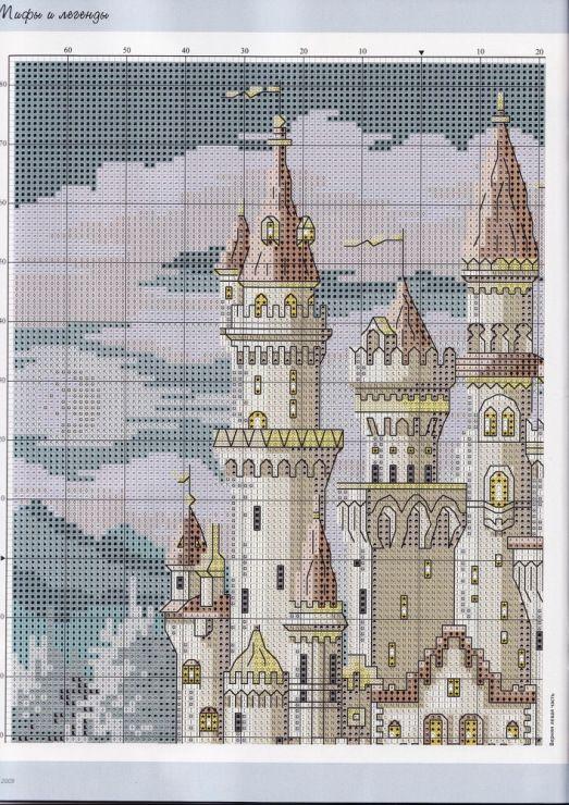 вышивка схема замок в цветах