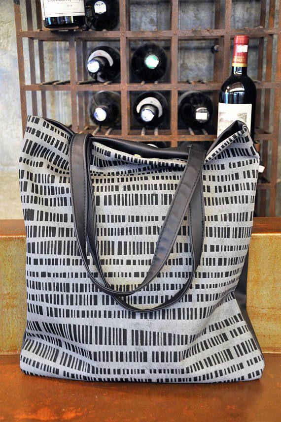 Leather tote bag, Vegan bag, Large everyday casual tote bag, Black shoulder bag, Silver handbag, Everyday bag, Grey handbag, Grey tote bag #fashion #fashionblogger #bags #boho #bohostyle #tote #totebag #style #styleblogger #fashionista