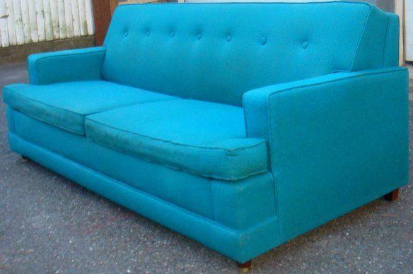 Mid Century Buttoned Back Blue Sleeper Sofa!! in Hackensack, NJ, USA ~  homeandapt.com nice source