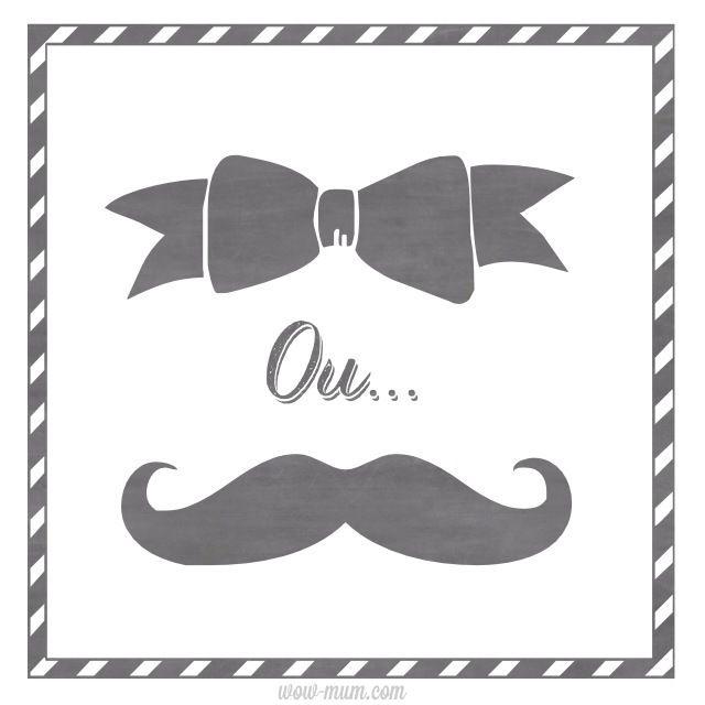 Facebook profile : Joli noeud ou belle moustache ! pour annoncer la venue d'un bébé sans révéler s'il sera féminin ou masculin dans un esprit photobooth !