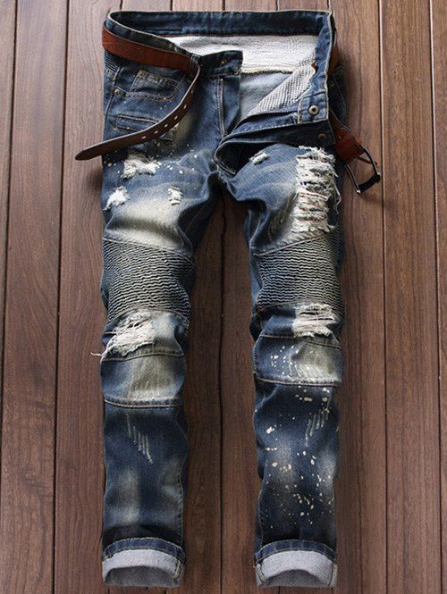 Only $20.33 for Ruched Design Broken Hole Moto Jeans