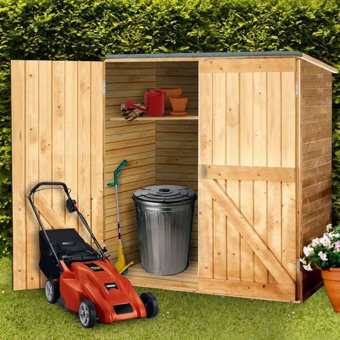 "tool storage shed 59""w x 31""d x 64""h for 67 cu. ft. of storage Solid pine construction with asphalt-covered roof Double doors for easy access 2 corner shelves keep small items organized"