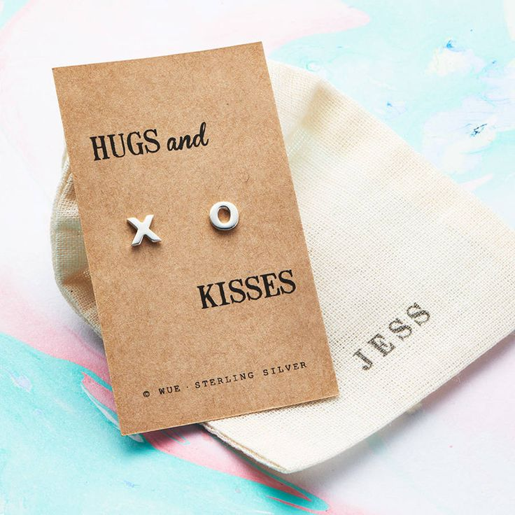 Hugs And Kisses Silver Earrings. These dainty, thoughtful sterling silver stud earrings are a perfect token for friends, family and someone special.