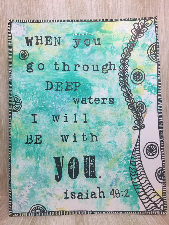When You Go Thru Deep Waters I Will Be With You Card//Art