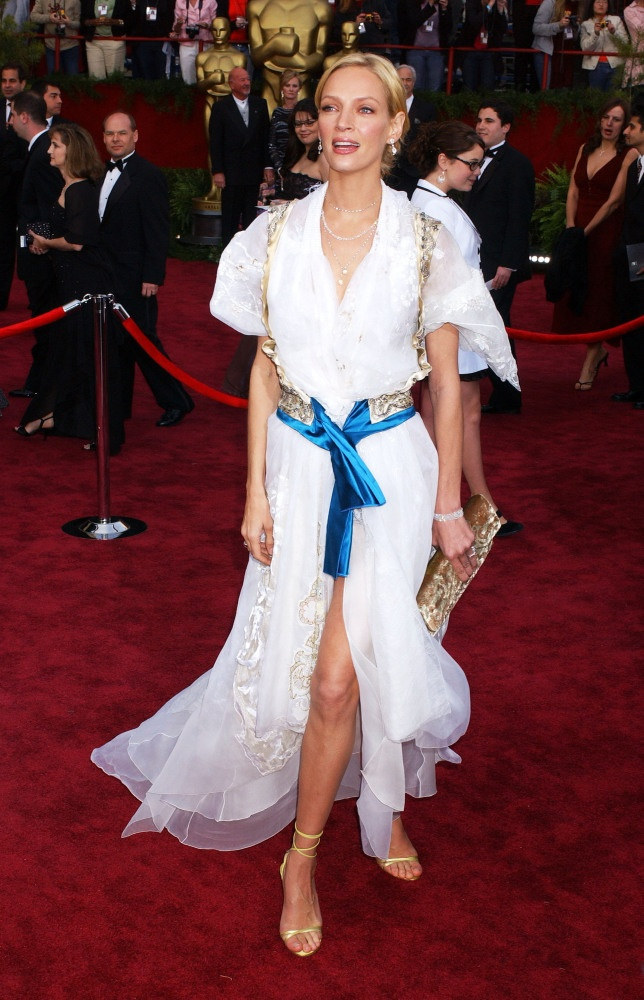 """Oscars Worst Dressed From The Past-Uma Thurman in Christian Lacroix- """"Strap me in"""""""