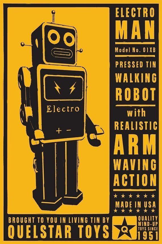 Retro Robot Art Print  ElectroMan Tin Toy Robot Box by johnwgolden, $30.00