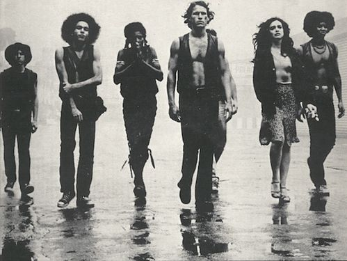 Nice black & white line up....good puddle reflections // The Warriors (1979)