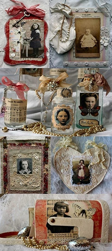 Altered art and mixed media projects with fabric and laces.