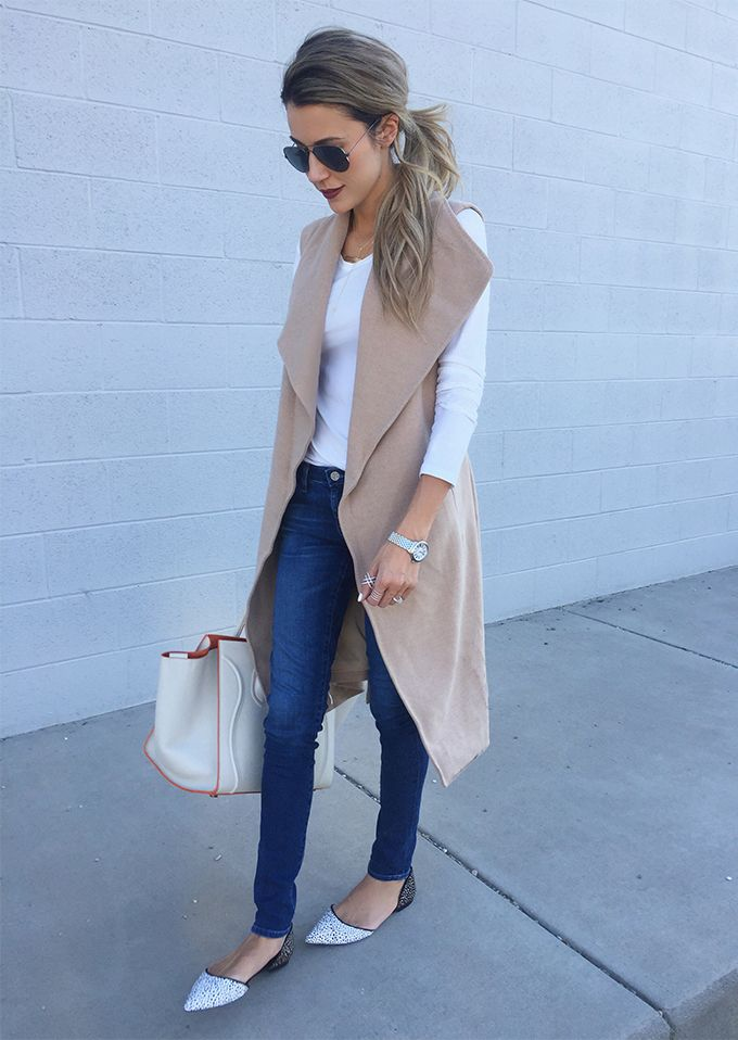 DETAILS: SLEEVELESS CAMEL COAT/VEST || WHITE LONG SLEEVE TEE || DENIM || SPOTTED FLATS  @christiesblog