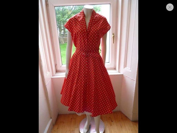 Vintage 80s Does 40s 50s Polka Dot Dress UK 14-16