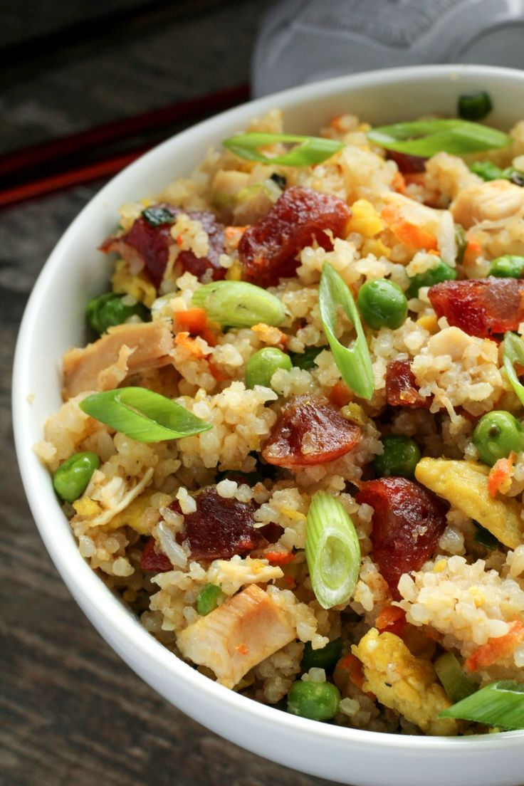 Chicken and Chinese Sausage Fried Rice ~ Traditional chicken fried rice with the added sweet and savory flavor of Chinese Sausage, made Vietnamese style.