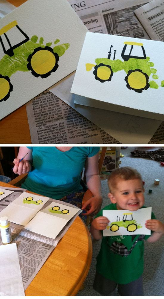 Footprint Tractor Card | Easy Fathers Day Cards for Kids to Make | DIY Birthday Gifts for Dad from Kids (homemade kids gifts for grandparents)