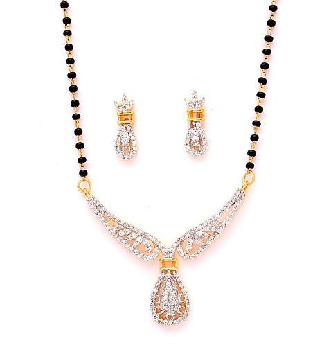 White CZ Diamond Studded Mangalsutra Online Shopping: JVM621