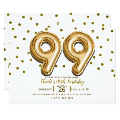 99 Gold Balloons Confetti 99th Birthday Party Card