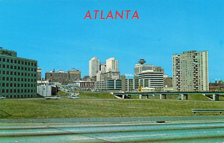 Atlanta skyline as seen from the Connector (ca. 1970). A partial view of ultra-modern downtown Atlanta, showing the Peachtree Center, Merchandise Mart, Atlanta Gas Light Towers, the Regency Hotel and other outstanding buildings.