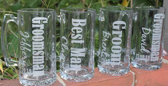 1 Personalized Groomsman Gift, Etched Beer Mug. Great Bachelor Party Idea,Groomsmen,Best Man,Father of Bride or Groom Gift on Etsy, $12.00