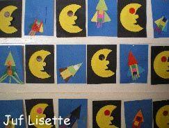 Maan maken met papieren bordje  Raket naar eigen fantasie knippen uit gekleurd papier