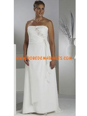 Robe de mariée grande taille mousseline appliqué