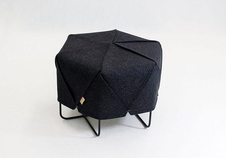 ROMBI by Kumeko, geometric hexagonal pouf / footstool, pure wool felt