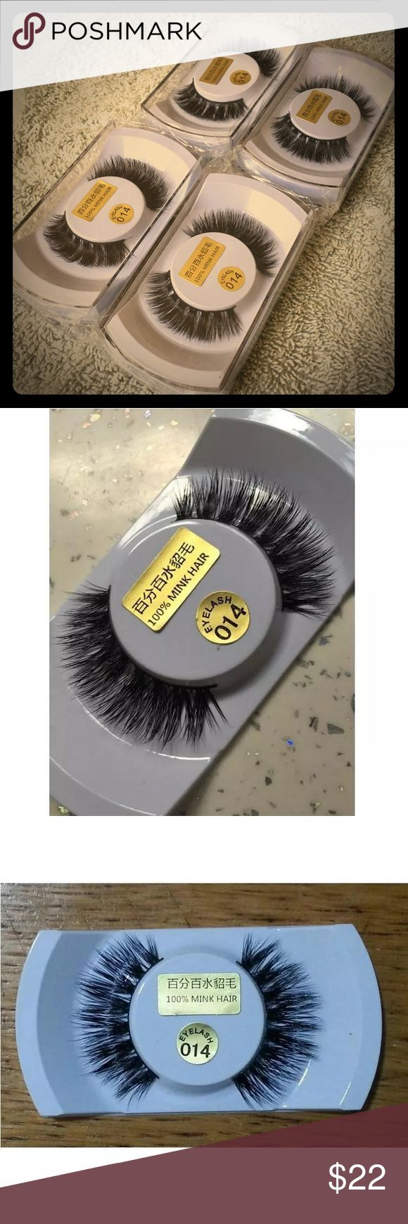 🔥🔥4pairs 100% real mink hair 100% real mink hair natural black tick ! Price is firmed Makeup False Eyelashes